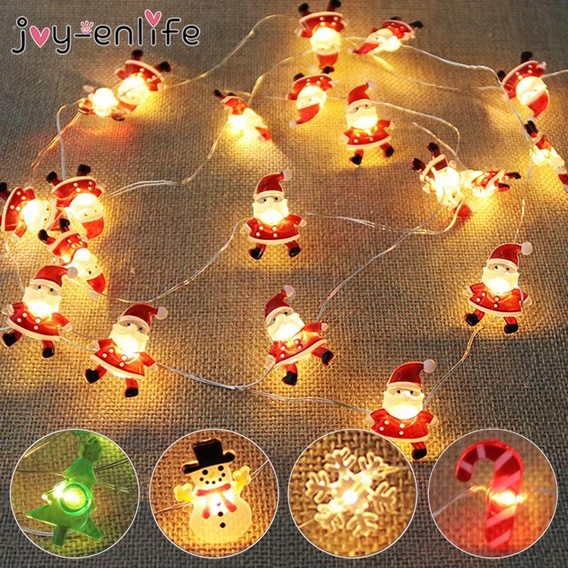 2M 20LED Kerstman Sneeuwvlok Boom Led Light String Christmas Decoratie Voor Thuis 2020 Kerst Ornament Xmas Gift Nieuwe jaar