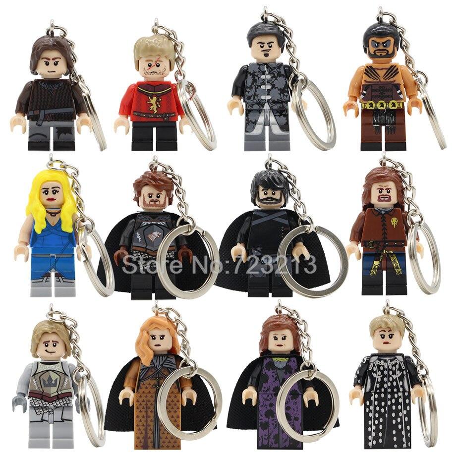 Game Of Thrones Figure Keychain Jon Snow Cersei Tyrion Lannister Arya Daenerys Khal Drogo Key Ring Building Blocks Bricks Toys