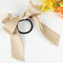 Bow Solid party Women hairband Lady Ribbon Rope Scrunchie Satin Ponytail Holder Hair Band Polyester Accessory moda mujer 2019(China)