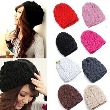 Women's Sweet Knit Crochet Ski Hat Winter Warm Braided Baggy Beret Beanie Cap Solid Color, Knit Croc