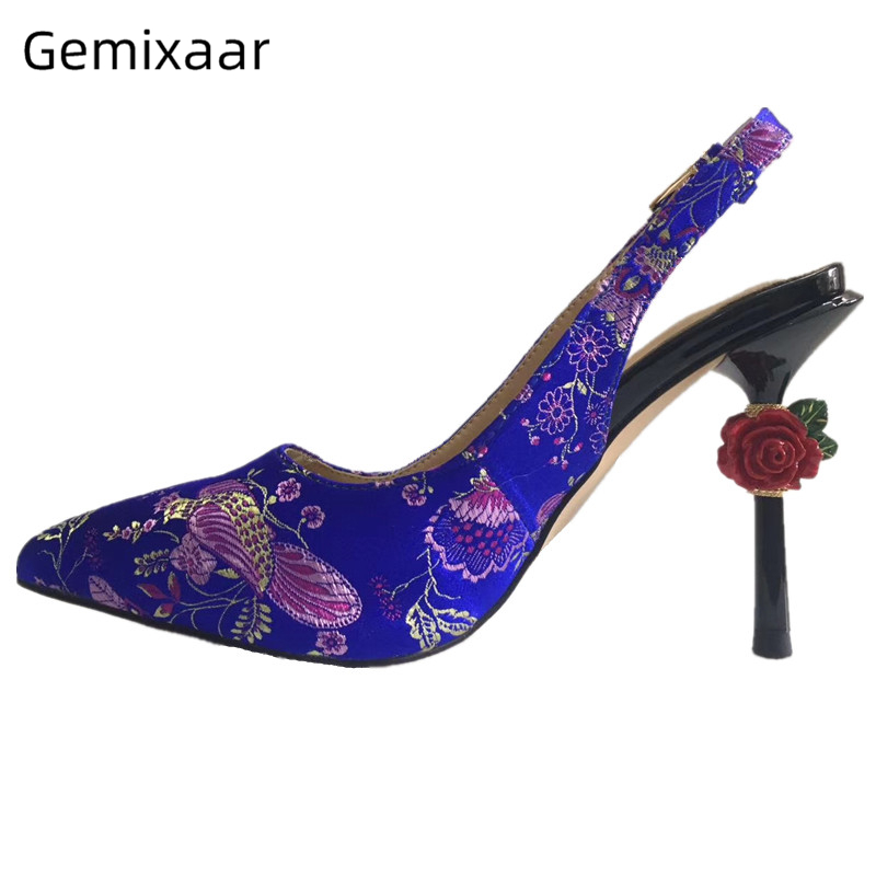 Carved Rose High Heel Wedding Shoes Woman Back Strap Pointed Toe Embroidery Flower Slingback Strange Heel Women Pumps