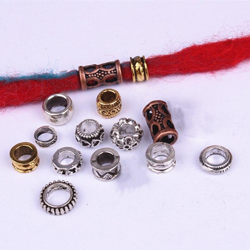 10pcs Retro Silver Metal Hair Braid Dreads Beads Rings Tube Hair Beads For Braids 6mm Inner Hole Jewelry Dreadlock Accessaries
