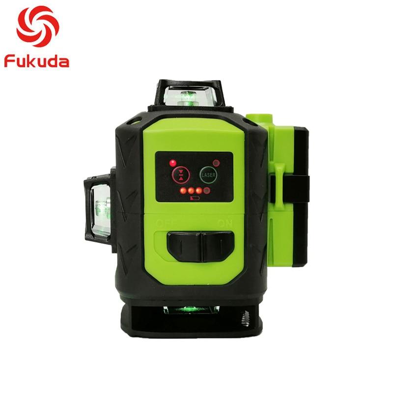 XEAST NEUE Fukuda MW-94D-4GJ 16 Linien 4D Green Laser Level 4000mAh Lithium-Batterie Selbst Nivellierung Horizontal & Vertikal kreuz Linien