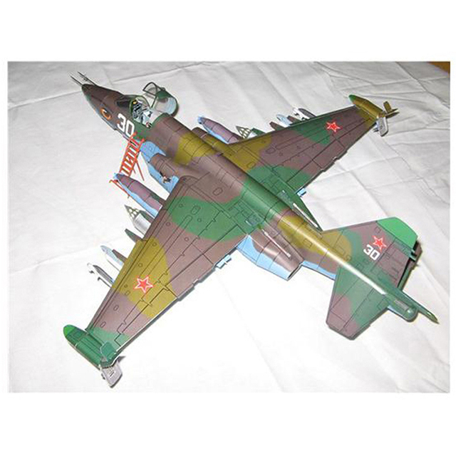 1PC 1:33 Su-25 Fighter Aircraft DIY 3D Paper Model Building Sets Construction Toys Educational Toys 3
