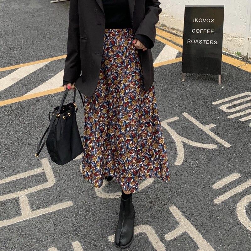 Floral Print Women Skirt High Waist Spring Summer Female Midi Skirts Holiday Ladies Skirts Bottoms 2020