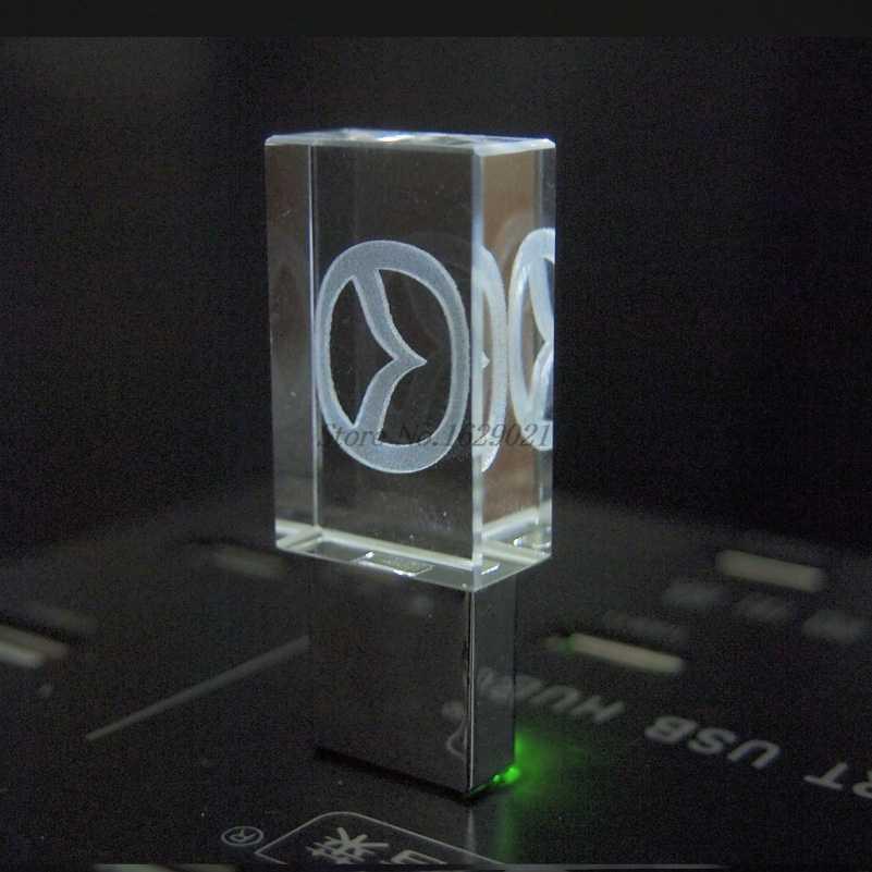 新しいledクリスタルペンドライブ透明車のロゴusbフラッシュドライブ 2.0 128 ギガバイト 16 ギガバイト 32 ギガバイトメモリスティック 64 ギガバイトプロモーションギフト