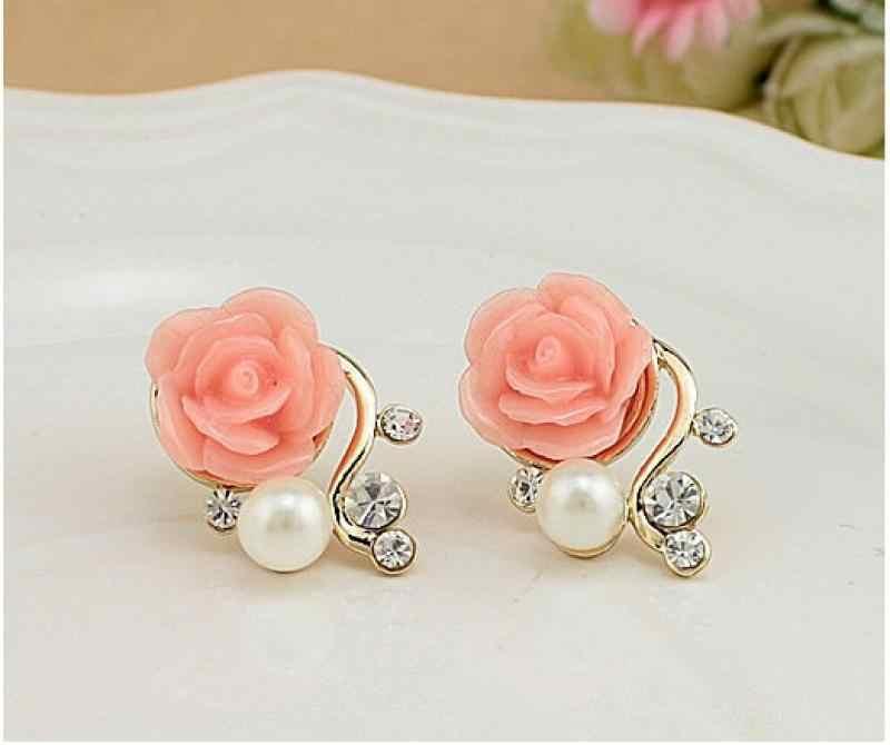 Coréen mode bijoux exagéré boucles d'oreilles nouveau Style coréen femmes Rose Rose cristal boucles d'oreilles en gros