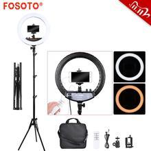 FOSOTO FT 240RL anneau lampe 240 perle Led anneau lumière vidéo Ringlight photographie lampe avec trépied et télécommande pour téléphone maquillage Youtube