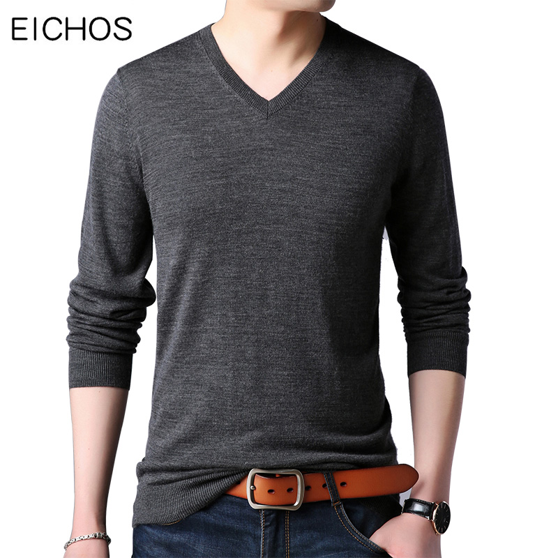 Men's Pullover V Neck Sweater Slim Solid Pullovers 100% Wool Quality Autumn Winter Knitted Men Casual Black Blue Yellow Purple