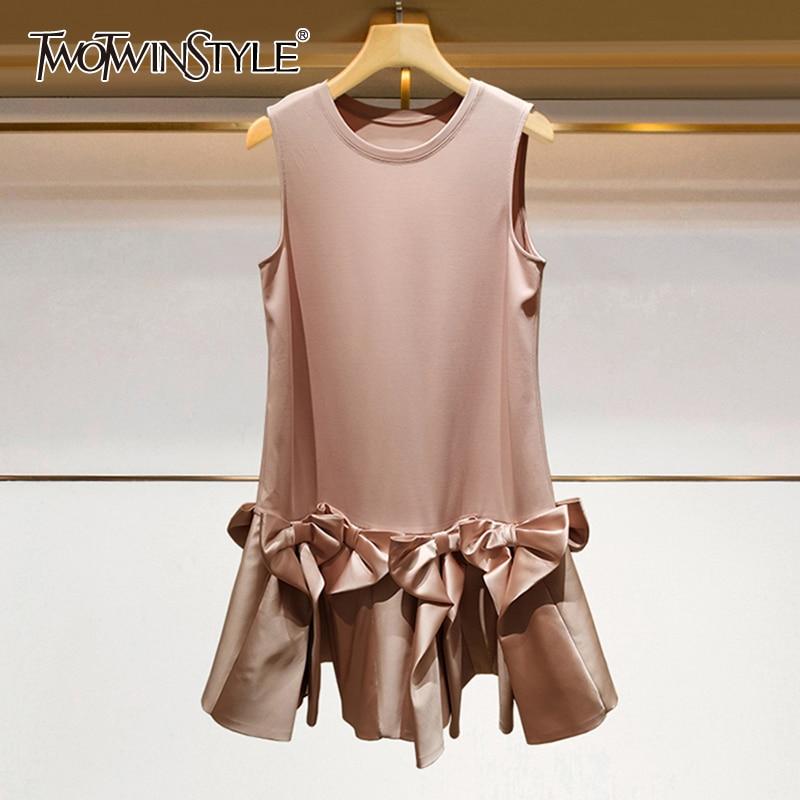 TWOTWINSTYLE Elegant Summer Dress Women O Neck Sleeveless High Waist Patchwork Bowknot Dresses Female 2020 Fashion Clothes Tide