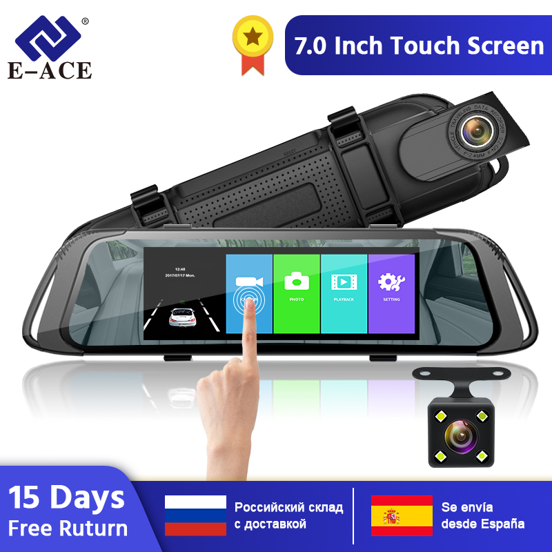 E-ACE A31 7 Inch Touch Screen Car DVR Video Recorder with <font><b>Rear</b></font> <font><b>View</b></font> Camera <font><b>Mirror</b></font> DVR <font><b>Dash</b></font> <font><b>Cam</b></font> Video Registrator Dashcam image