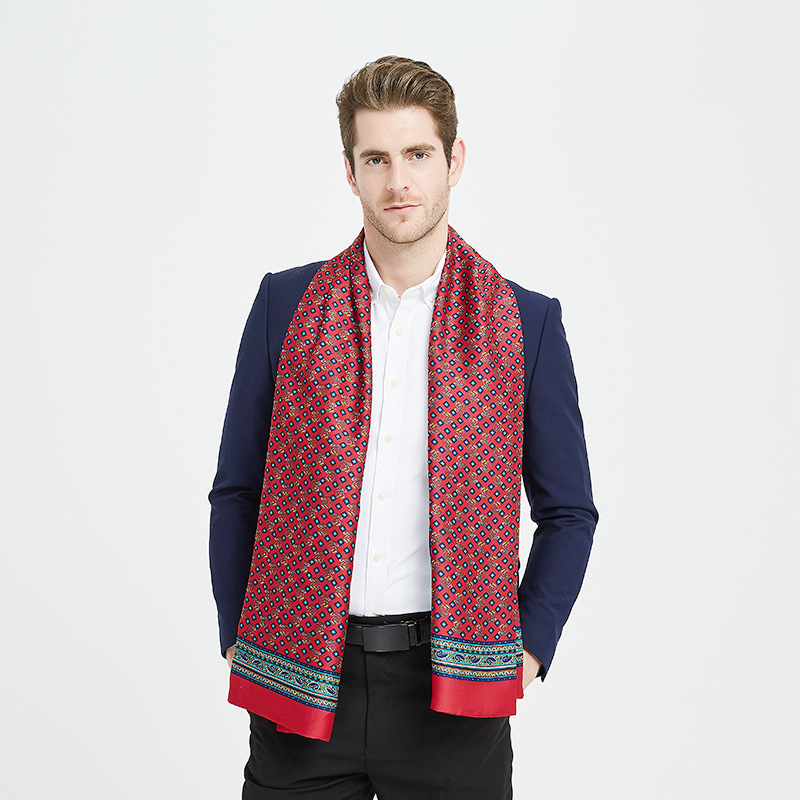 Matagorda Print Scarf Plaid Fashion-Accessories New Long Men Silk Holiday-Gifts Imitation-Silk title=