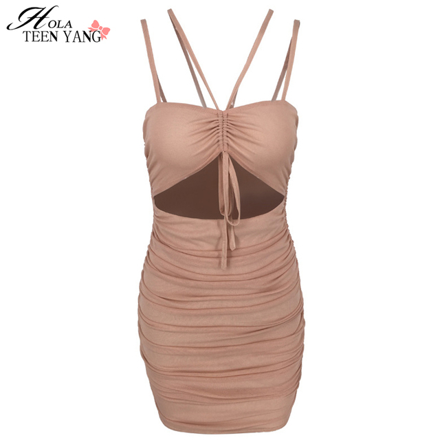 HolaTeenYang Pleated Sexy Dress Women Spaghetti Strap Holllow Out Bodycon Party Summer Dress Slim Backless Casual Party Clubwear 6