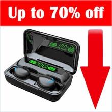 Tws f 9 Bluetooth-гарнитура; Беспроводные наушники; IPX7 водонепроницаемые наушники с шумоподавлением; HIFI стерео; Сенсорные, автоматические, магнитн...