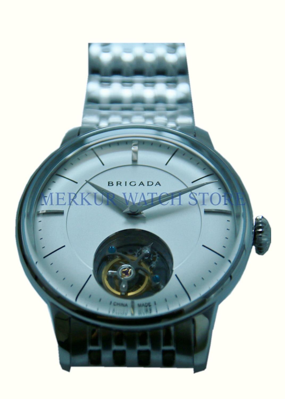 BRIGADA Mens Seagull ST8000 Mechanical Tourbillon Movement Dress Luxury Watch