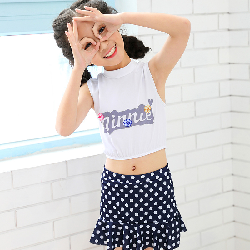 Cute Children Two-piece Swimsuits Fu Gu Qun-Boxer Small Middle And Large GIRL'S Swimsuit Hot Springs Tour Bathing Suit Wholesale