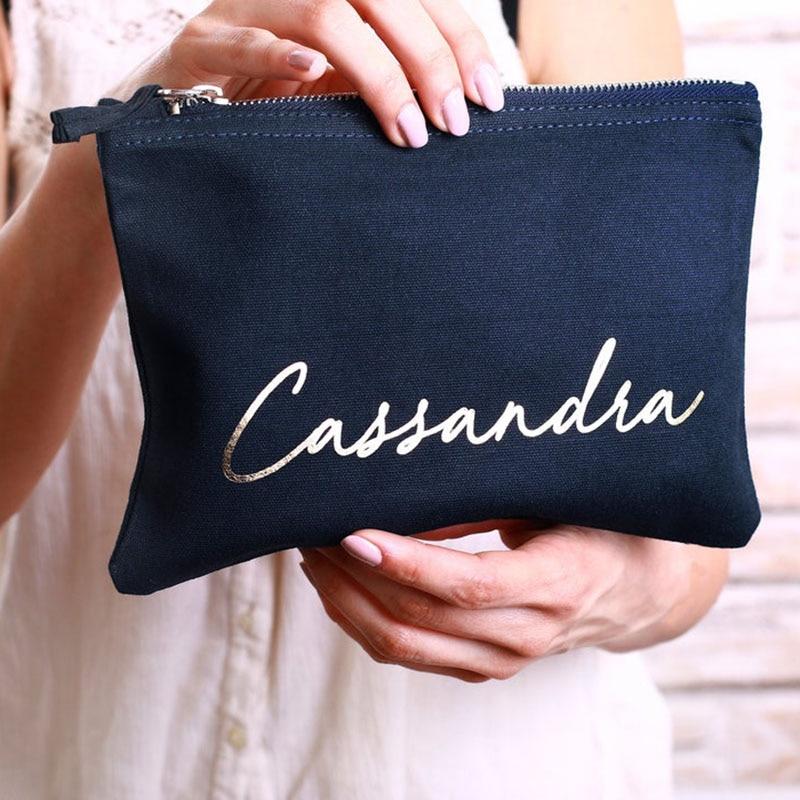 Sac cosmétique de maquillage monogramme personnalisé-Script cursif nom personnalisé sac cosmétique rose gris-cadeau meilleur ami, Bri