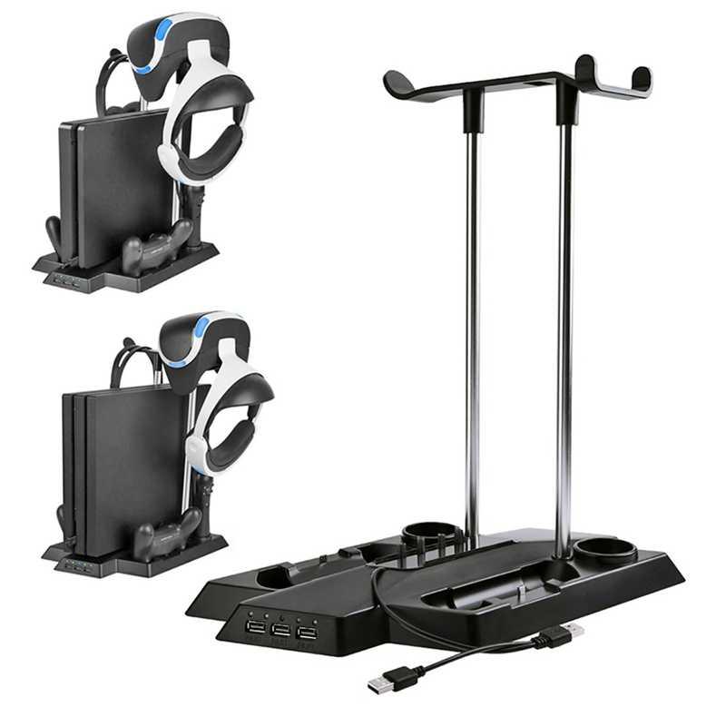For Ps4 Pro Slim Ps Vr Move Vertical Cooling Charging Storage Bracket, Psvr Headset Holder & Move Controller Charging Station