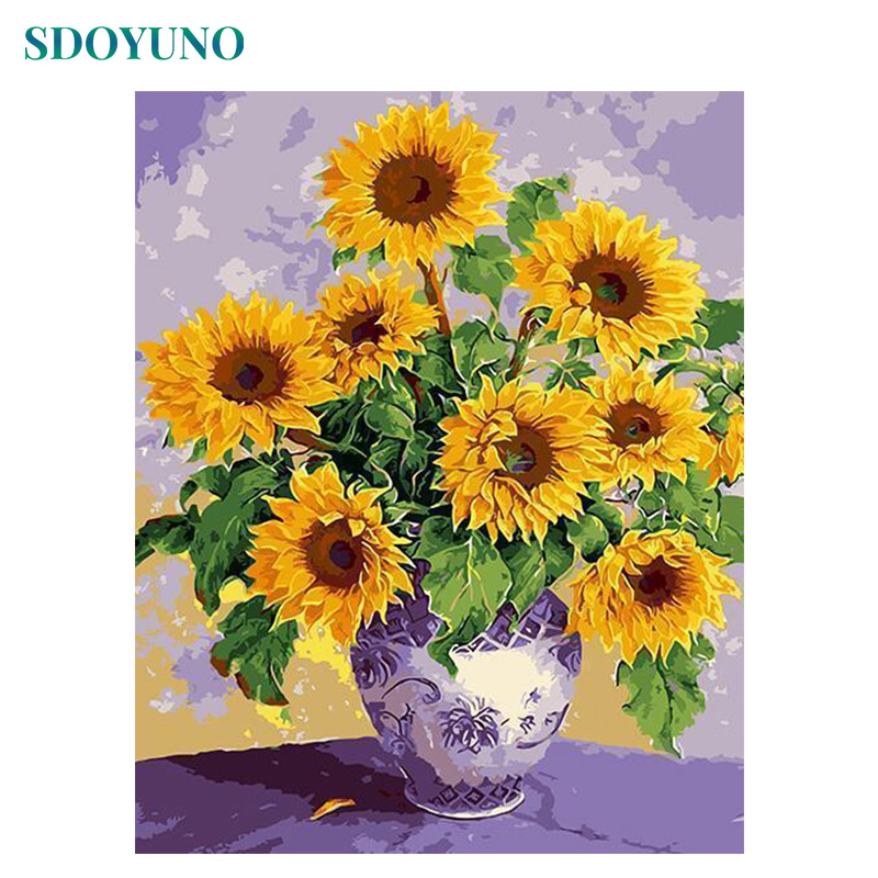 SDOYUNO 60X75cm Oil Painting By Numbers Sunflowers Room Decoration Frameless Digital Canvas Painting DIY Pictures By Numbers