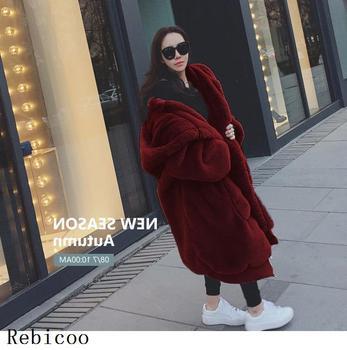 Oversized Winter Faux Fur Coat Women Parka Long Warm Faux Fur Jacket Coats Hoodies Loose Winter Coat Outwear casaco feminino 8