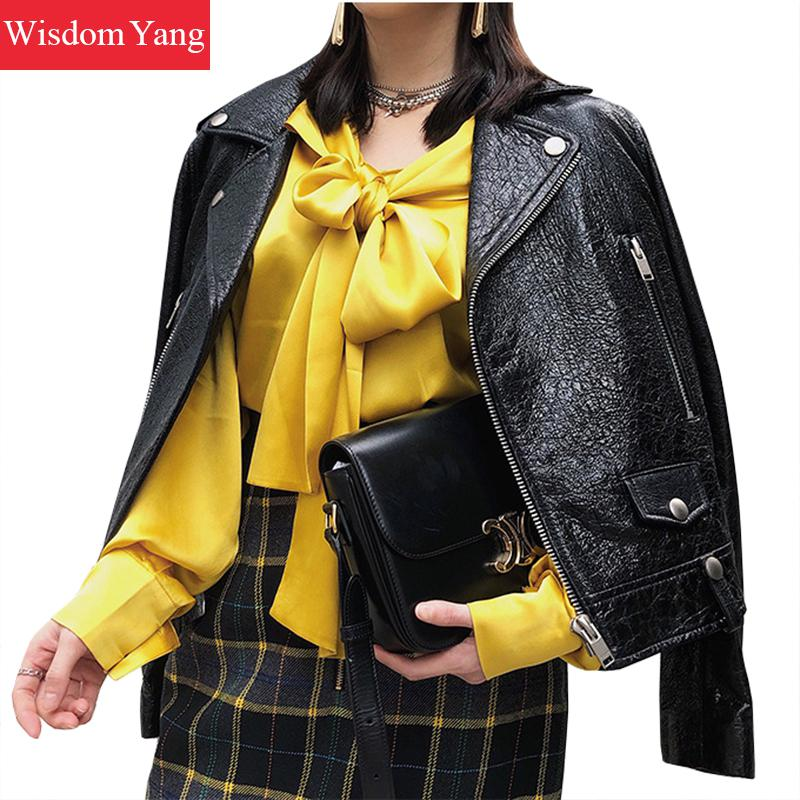 Black Real Leather Sheepskin Genuine Short Jackets Coat Women Gothic Ladies Punk Overcoat Rivet Bomber Jacket Coats Outerwear
