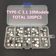 100 pçs/lote 10 modelos tipo-c usb conectores de carregamento doca mix 6pin e 16pin uso para o telefone móvel e kits de reparo de produtos digitais