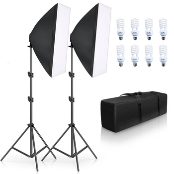 Photography 50x70CM Softboxes Lighting Kit  Four Lamp E27 Holder With 8pcs Bulb Soft Boxes Accessories For Photo Studio Video