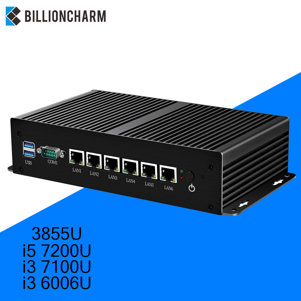 Fanless Mini Pc Intel Core I5 7200U I3 7100U Router 6 LAN 211at Gigabit Ethernet RS232 Firewall Industrial Router PFsense MINIPC