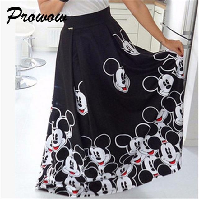 Plus Size Mickey Long Skirt Women Elegant Elastic High Waist Cartoon Casual Women Pleated skirt Ladies skirt Women Streetwear 5