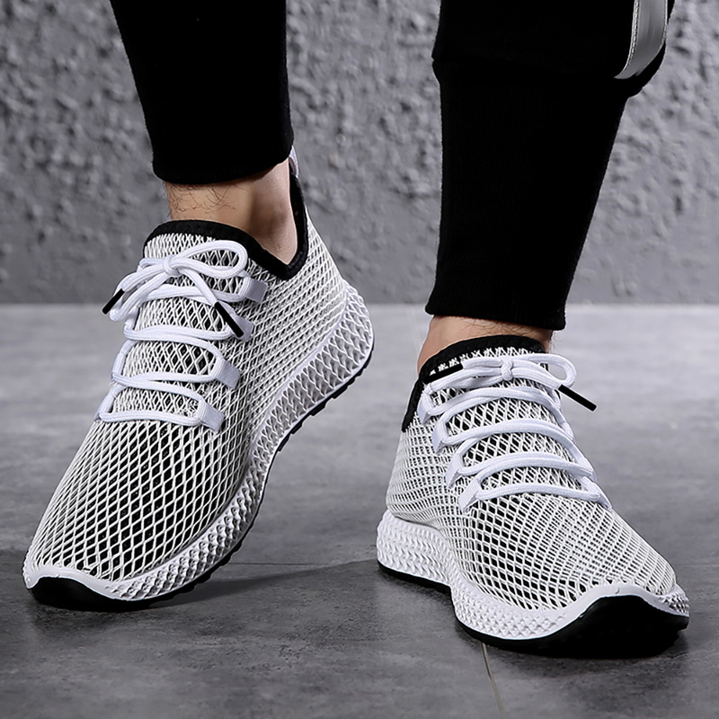 HEFLASHOR Shoes Sneakers Male Walking-Flats Outdoor Plus-Size Summer Brands Man Lace-Up