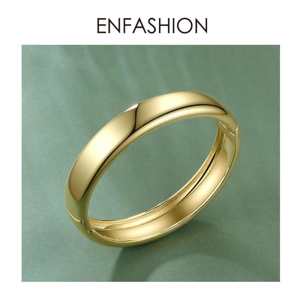 ENFASHION فارغة واسعة الكفة الأساور للنساء اكسسوارات الذهب اللون بسيطة الحد الأدنى أساور مجوهرات الأزياء بالجملة B192029
