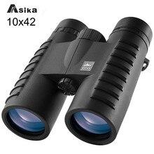 Asika 10x42 HD Camping Caça Escopos Binóculos Com Totalmente Multi revestido-Wide Angle Prism Optics Telescópios Bak4 binoculares