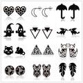 Черные серьги-гвоздики в стиле панк из нержавеющей стали для женщин и мужчин, модные волейбольные серьги с изображением листьев зонта и при...