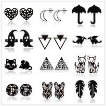 Boucles d'oreilles Punk noires en acier inoxydable pour femmes et hommes, à la mode, feuille de volley-ball, parapluie, boucles d'oreilles fantôme, bijoux de noël pour enfants, cadeau
