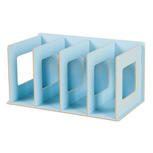 Простая многоярусная книжная полка 4 сетки оригинальная полка для хранения книжные мелочи DIY деревянный шкаф настольная подставка для книг домашняя детская книга - Цвет: Синий