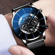 Reloj de cuarzo con cronógrafo deportivo de lujo de marca superior de acero inoxidable para hombre, de nueva moda de Ginebra 2019