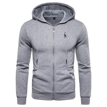 2019 New Autumn Winter Cotton Hoodied Mens Sweatshirts Solid Hoody Fleece Thick Hoodies Men Sportswear Zipper Sweatshirts Men