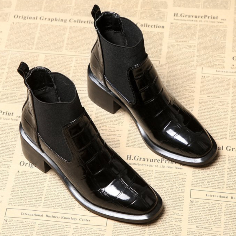 XZ068 2019 New Short Ankle Boot Patent Leather Comfort Women Shoes Thick Square Heel 6cm Boots Antumn Winter Chelsea