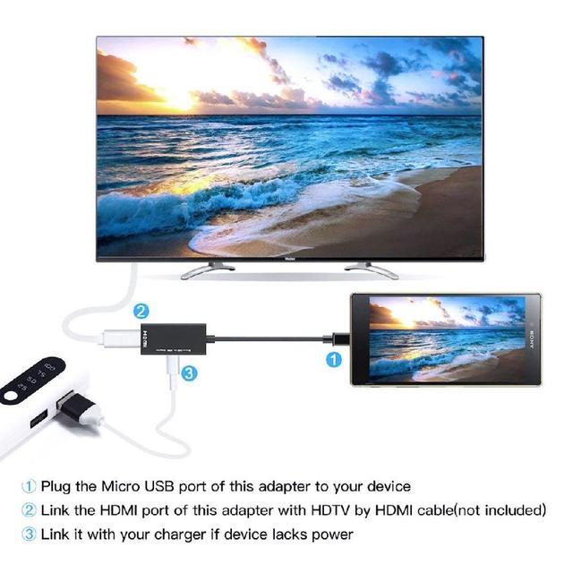 Cable de Audio y Video de tipo C y Micro USB a HDMI 1080P HD para adaptadores de convertidor HDTV para ordenador portátil de TV (el teléfono necesita la función MHL)