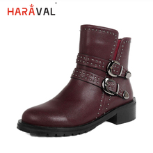 HARAVAL Luxury Woman Ankle Boots Handmade Round Toe Thick Heel Shoes Solid Fashion Buckle Retro Warm Classic Lady Casual