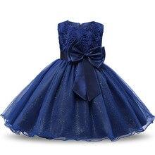 Винтажное синее платье для маленьких девочек платья для крещения для девочек 1 год, вечерние платья на день рождения, свадьбу, крестины, Одеж...