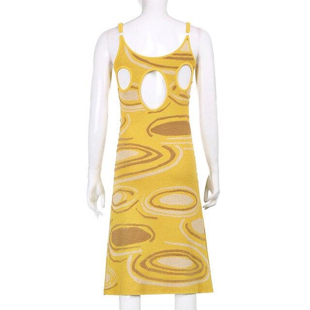 2021 Print Knit Body-con Dress Women Green Summer Hollow Out Sexy Sleeveless Spaghetti Strap Beach Midi Dresses Party Fashion 2