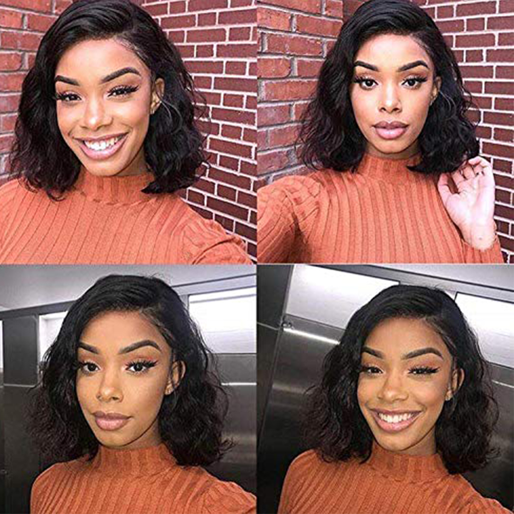 "Amanda Bob Wig Lace Front  Wigs Pre Plucked Natural Wave Middle Part 150% Density 8-16""   Lace Front Wigs 4"