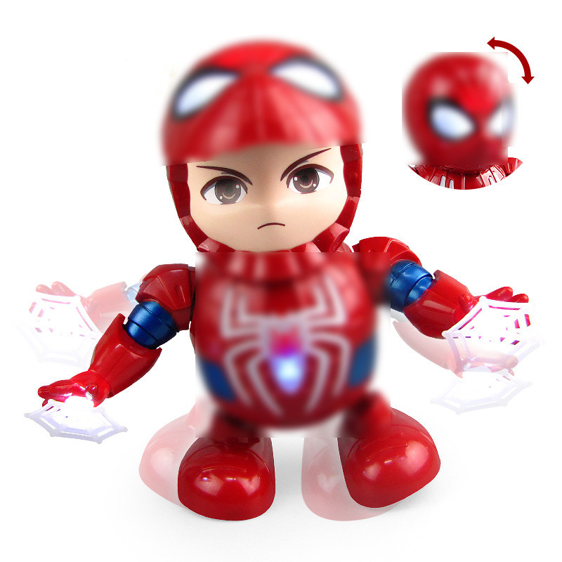 Superhero Spiderman Dance Action Figure Toy With Led Light Music Robot Hero Electronic Kids Toys