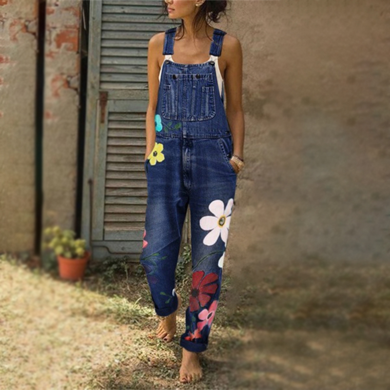 Denim Blue Women Overalls Jumpsuit Rompers Belted Printing Out Pocket Lady Overall Fashion Female Pants Jumpsuit