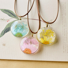 Natural Dried Flowers Necklace Handmade Flower for Women  Present and Gift Seven Colors