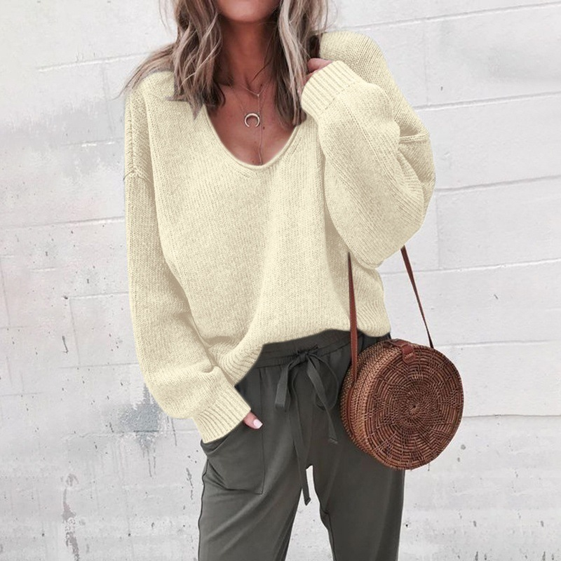 Sweaters Women Invierno 2019 Casual Sexy Deep V-neck Long Black Yellow Grey Fall Woman Sweaters Pullovers