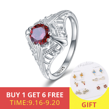 XiaoJing 925 Sterling Silver Red Crystal CZ Finger Rings for Women Fashion Wedding Valentines Day GIFT Jewelry free shipping