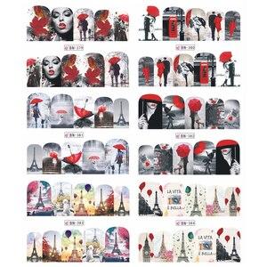 Image 5 - 12 projetos de água arte do prego transferência adesivo sliders bordo vermelho romântico desenhos dos namorados decalque manicure decorações JIBN373 384