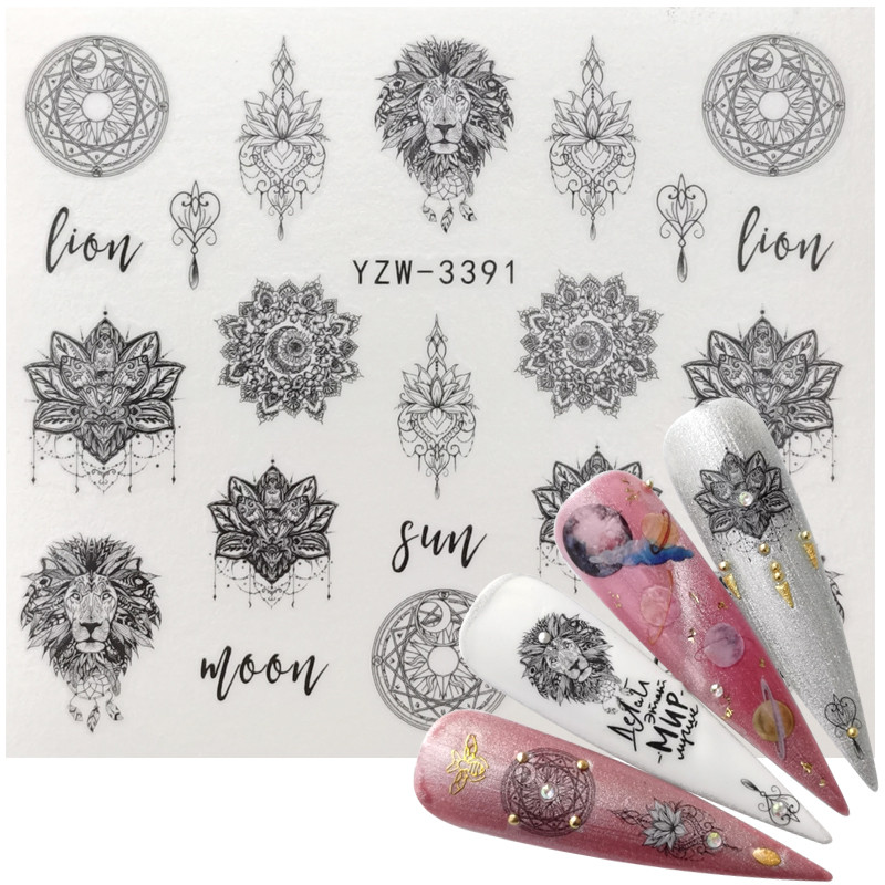 2020 New Jewelry Nail Sticker Black Vintage Boho Style Decals Manicure Water Transfer Slider Foil Slider Decorations